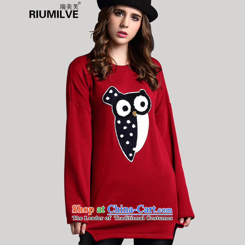 Rui Mei to 2015 to increase the number of women with new winter clothing thick mm loose video thin owl T-shirt thick Coated Knit shirts and lint-free Y1353 3XL wine red