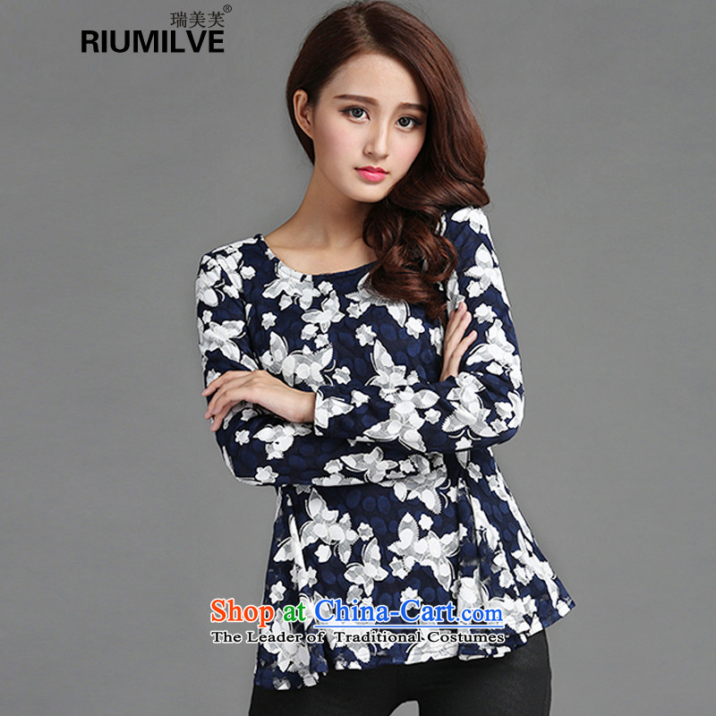 Rui Mei to 2015 to increase the number of women in the autumn and winter with thick mm body repair video thin plus lint-free stamp lace forming the thick clothes Y1352 T-shirt3XL Royal Blue