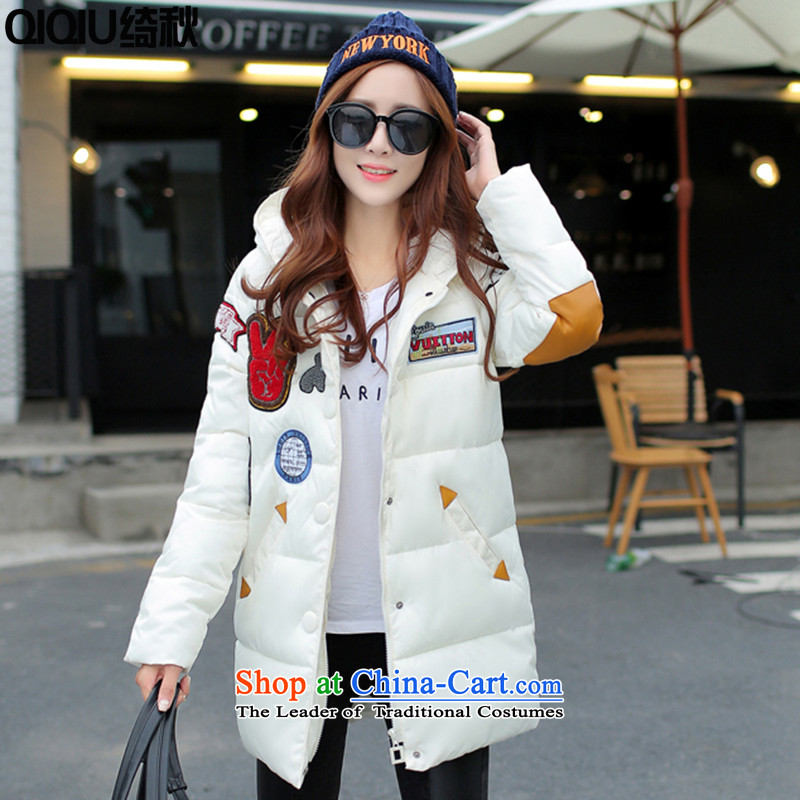 As autumn 2015 female 泾蜮 feather winter clothing women for larger female Korean Edition to increase cotton coat jacket thick mm female in long loose robe white�L thick recommendations 160-180 catty Weight