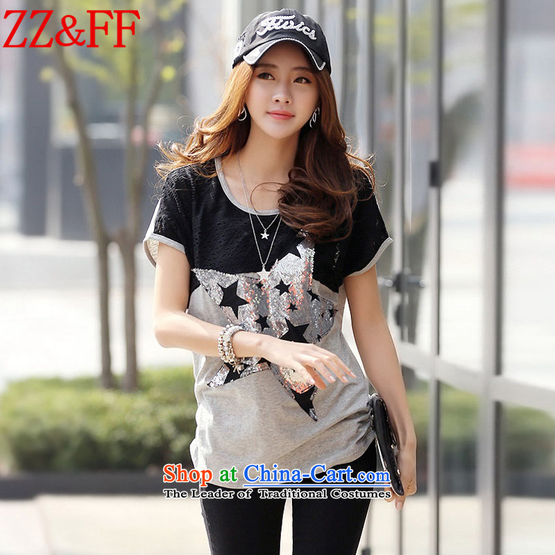 2015 Summer Zz&ff new larger female short-sleeved T-Shirt     stitching female DX9127  XXXL Silver