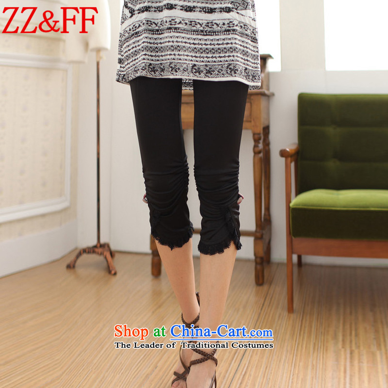 2015 Summer Zz_ff new larger female Capri pants, forming the Sau San燢Z1853 female燽lack燲XXL