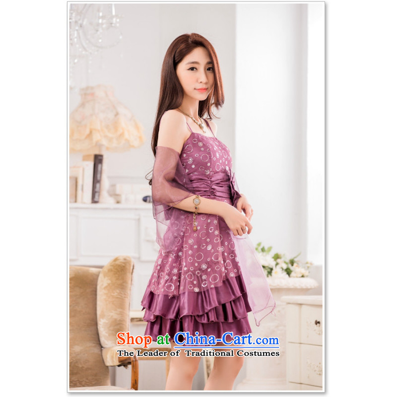 C.o.d. 2015 atmospheric contemporary Korean evening performances under the auspices of evening dresses on chip bow tie straps small dresses Sau San (with large silk scarf) Purple are Code F