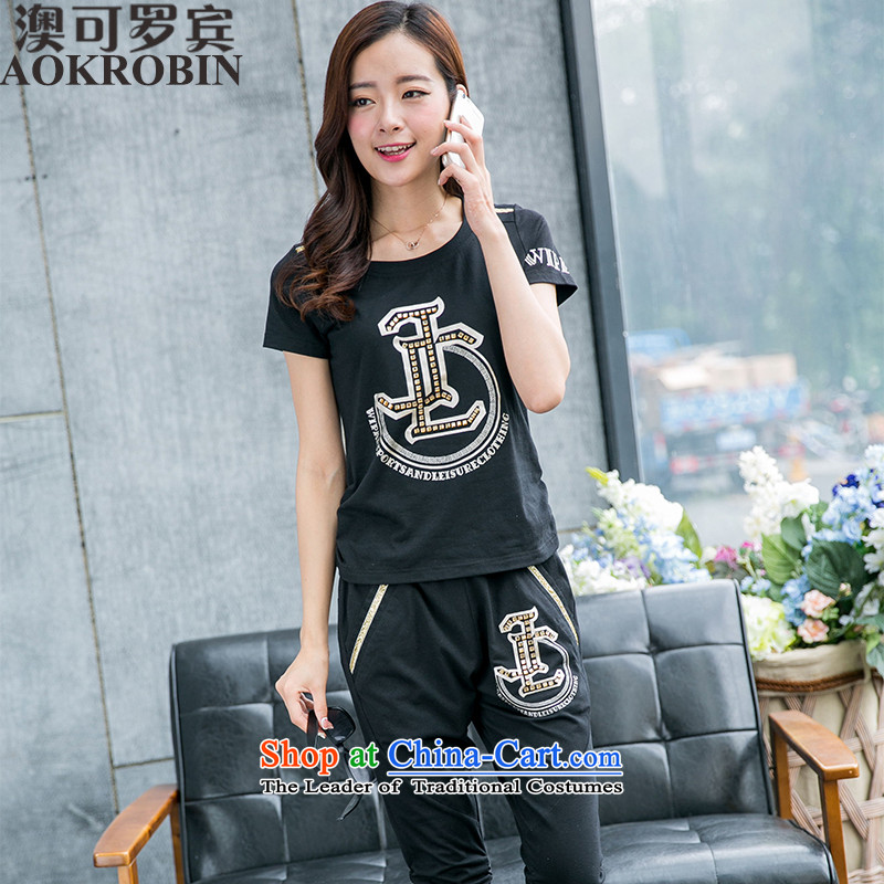 Australia New Robin large summer ladies casual sports wear t-shirt female short-sleeved black燣