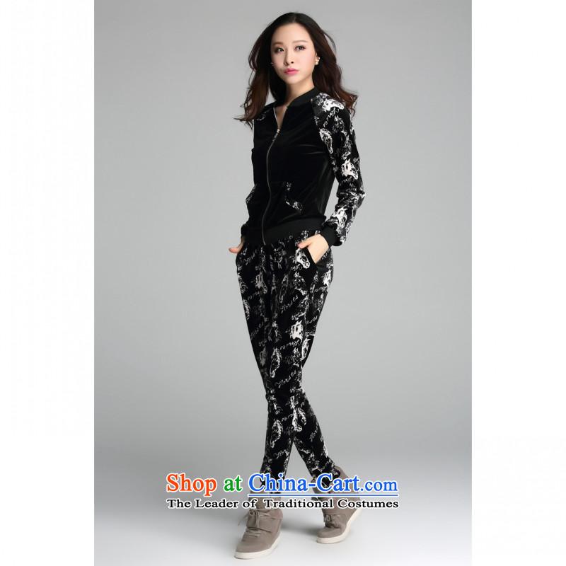 C.o.d. 2015 new stylish recreational sport xl thick MM Sau San video thin velvet sweater Korean sports wear leisure wears blackXXXL female