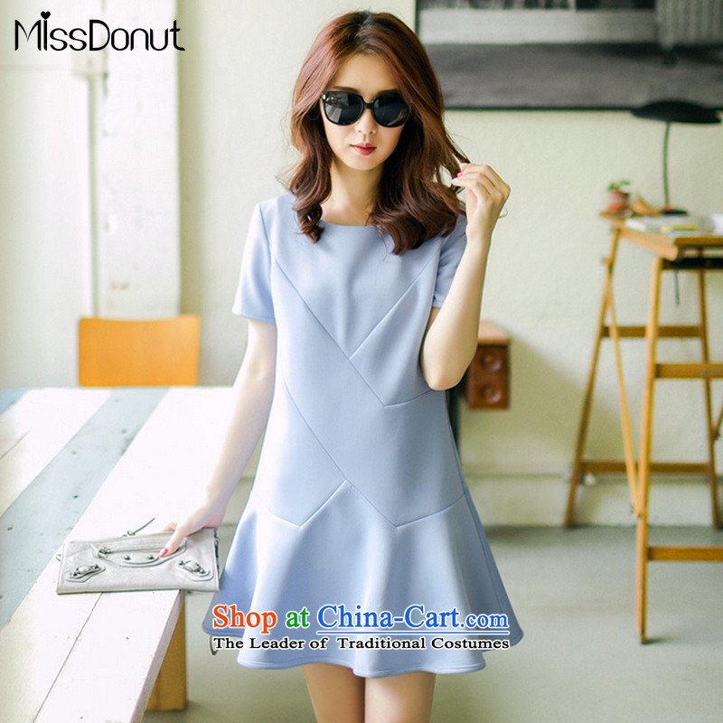 To increase the number missdonut summer new expertise in women's video, Korea thick mm200 thin catty short-sleeved skirt A large blue skirt code XXL