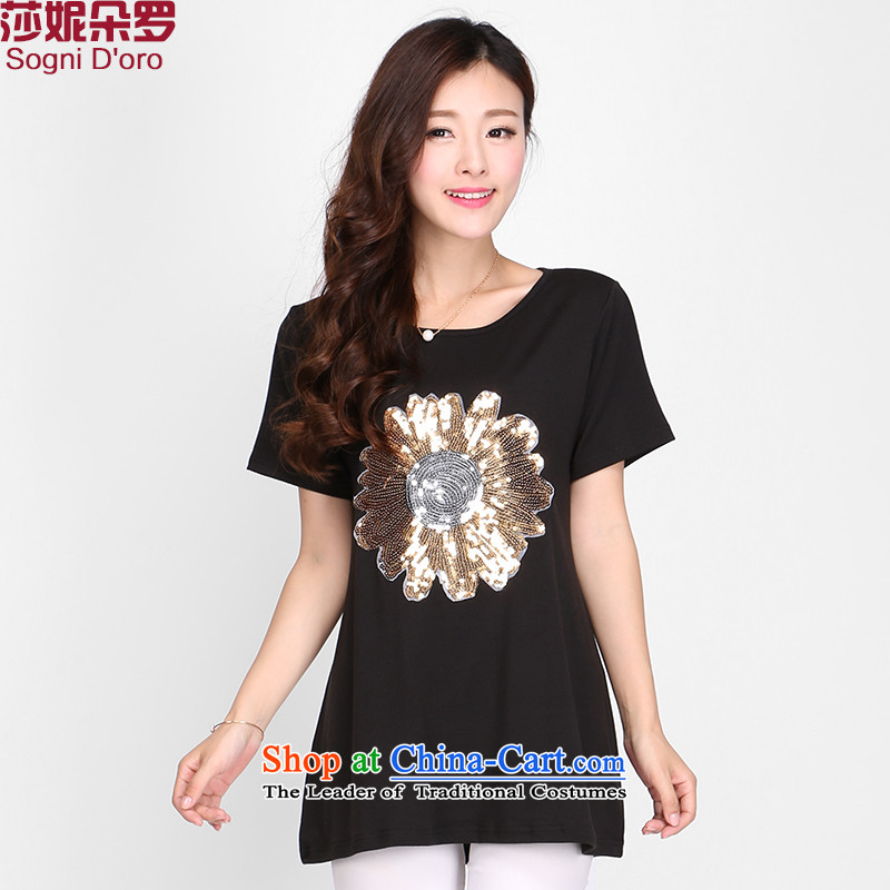 Shani flower, thick MM2015 summer, new short-sleeved T-shirt, light stamp solid color T-shirt Korean version of large numbers of ladies black�L 2,215