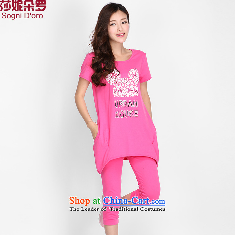 Luo Shani flower code women kit thick sister summer Korean casual wear thin, T-shirts graphics 2126 pink3XL- sportswear - moving up