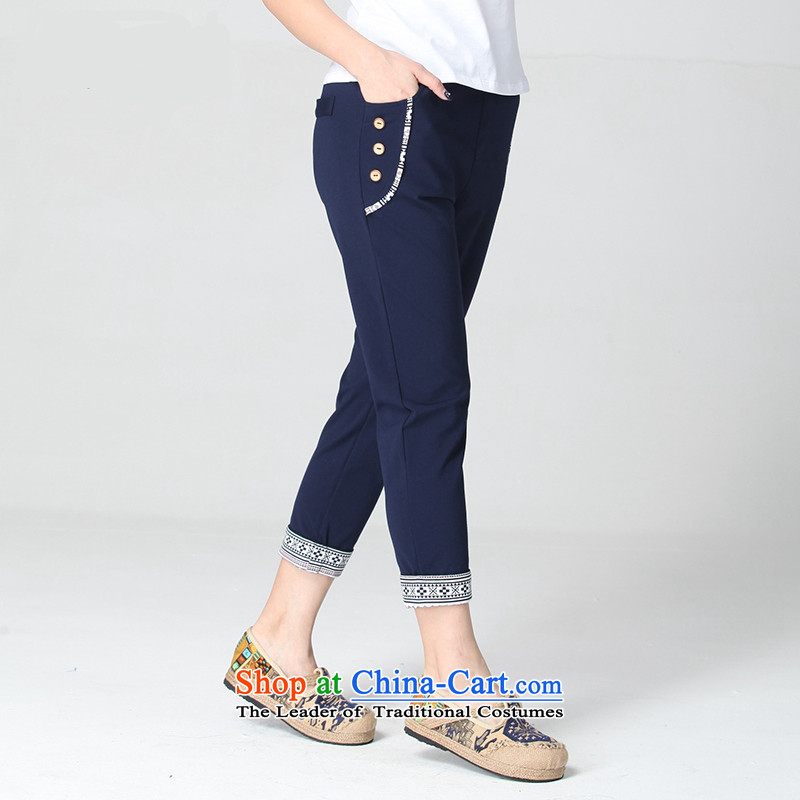 C.o.d. larger women 2015 Spring_Summer new Korean fashion centers of large size MM Stretch trousers video thin wild casual pants 9 blue trousers�L