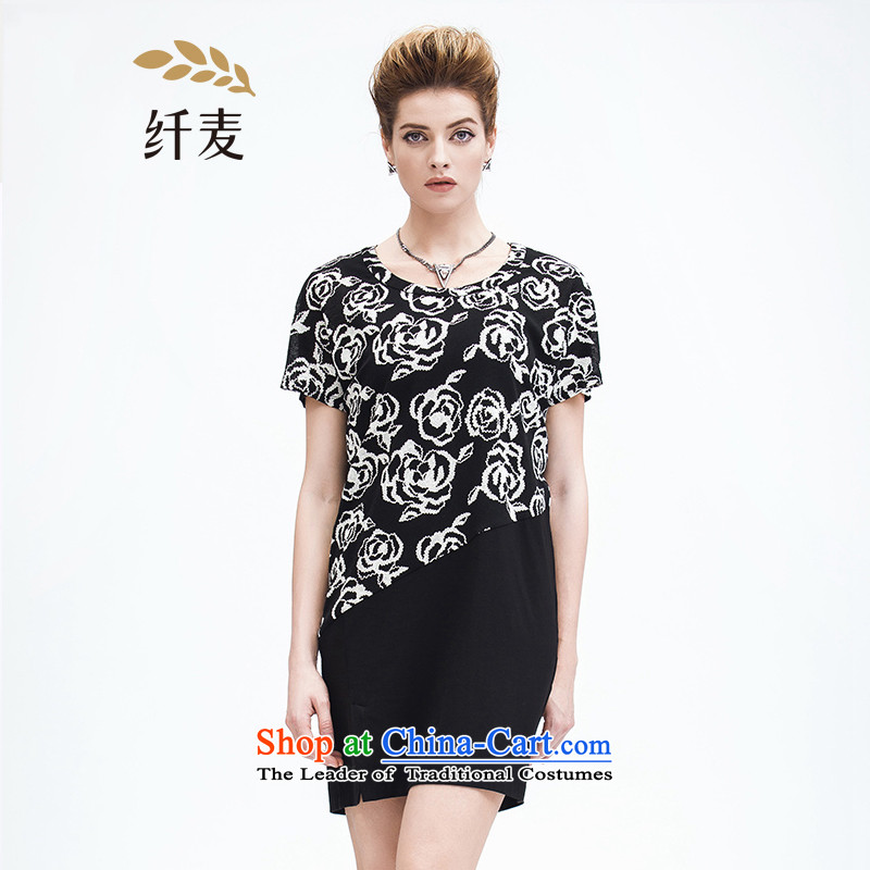 The former Yugoslavia Migdal Code women 2015 Summer new stylish mm thick flowers stamp short-sleeved dresses�2103199燘lack燲L