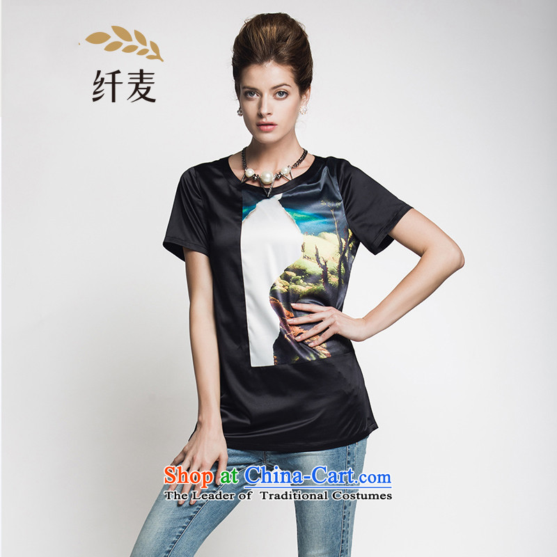 The former Yugoslavia Migdal Code women 2015 Summer new thick mm western natural color plane collision stitching short-sleeved T-shirt black�L 952153952
