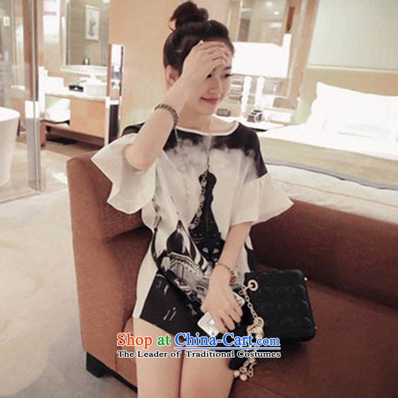 Billion by 2015 summer create new Korean women's large loose stamp. Made from short-sleeved long chiffon dresses summer female white燤