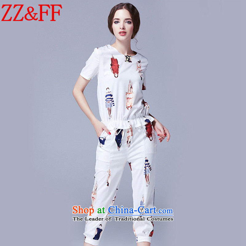 The new summer 2015 Zz_ff larger female decorated seen wearing short-sleeved cotton linen package燭Z246 female爓hite燲XXXL