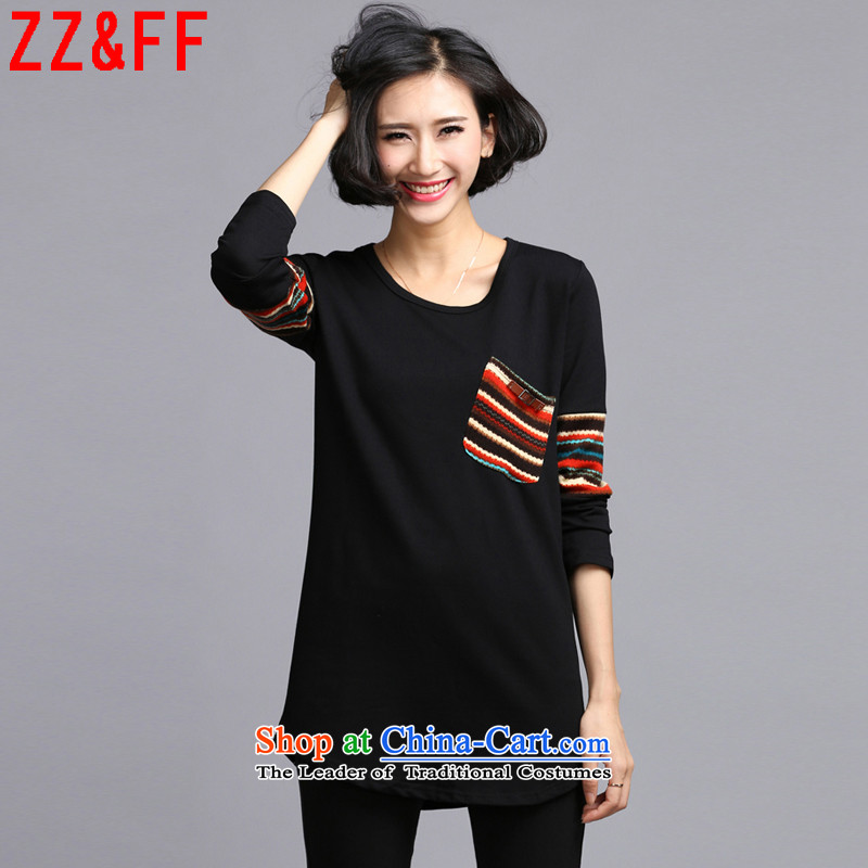 The autumn 2015 new Zz_ff larger women in long long-sleeved T-shirt, forming the Sau San dresses聽LYQ6119聽picture color聽XXXL female
