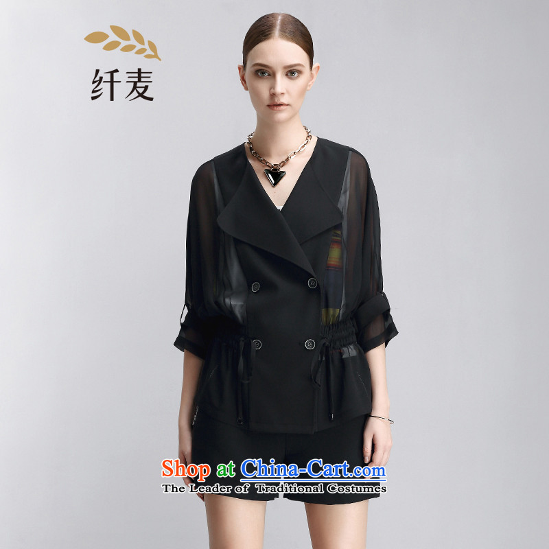 The former Yugoslavia Mak large high-end women 2015 Summer new thick mm ultra 7 to 852044483 cuff jacket  4XL Black