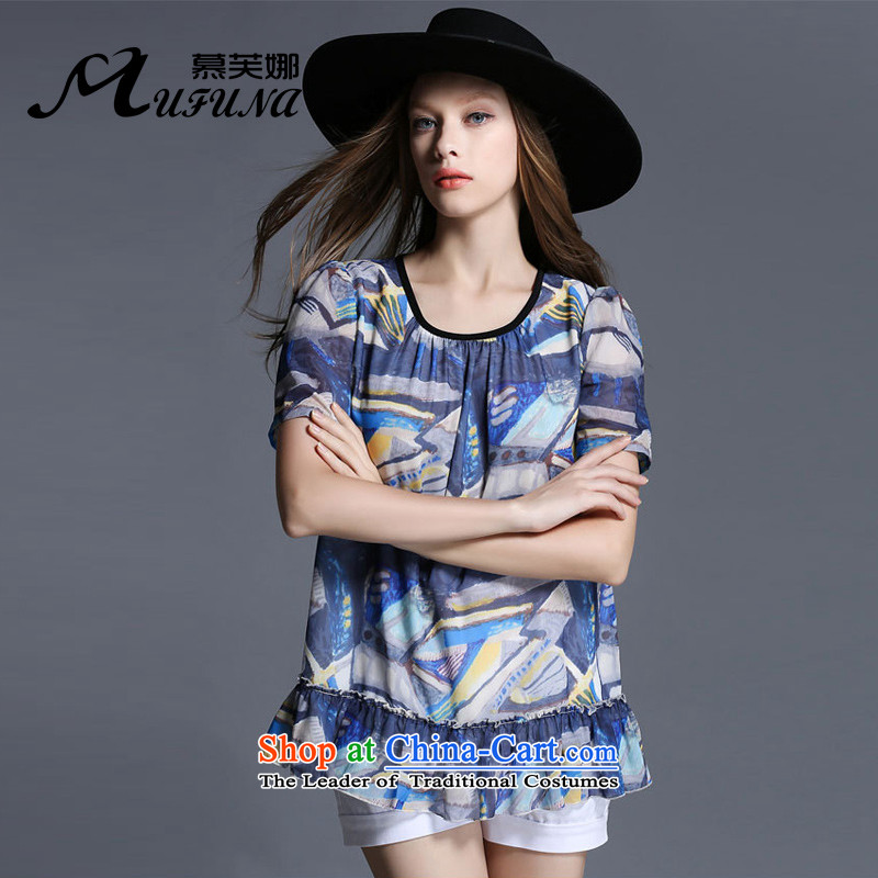 Improving access of 2015 Summer new larger female personality with T-shirt video stamp crowsfoot thin short-sleeved T-shirt with round collarpicture colorXXXXL 1932