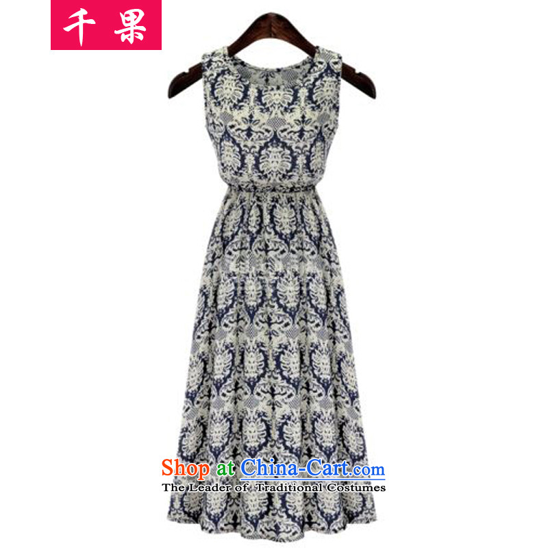 The results of the�15 Summer new larger female thick sister to intensify the bohemian long skirt Foutune of video thin stamp widen swing dresses�7燿ark blue�L stamp