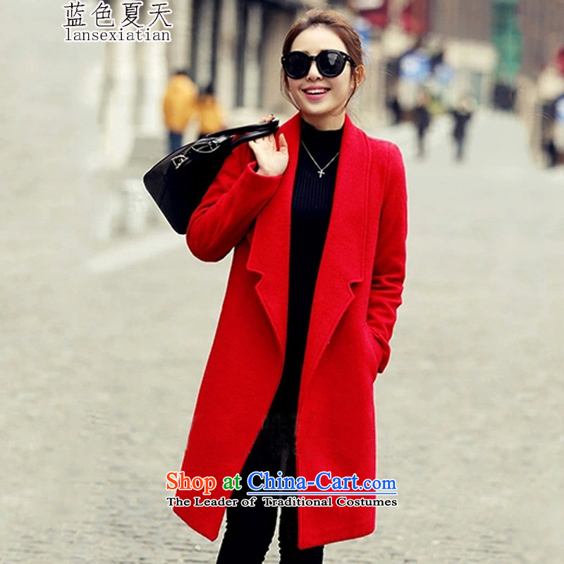 Blue Summer 2015 autumn and winter coats new Korean gross?   in the thin long graphics sub-coats_? female RED燤