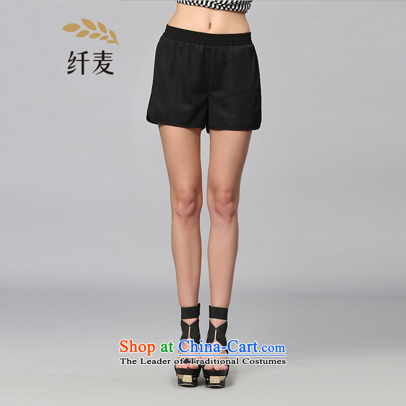 The former Yugoslavia Migdal cooked larger women 2015 Summer new fat mm Sau San stitching Mesh shorts 352094129 black�L