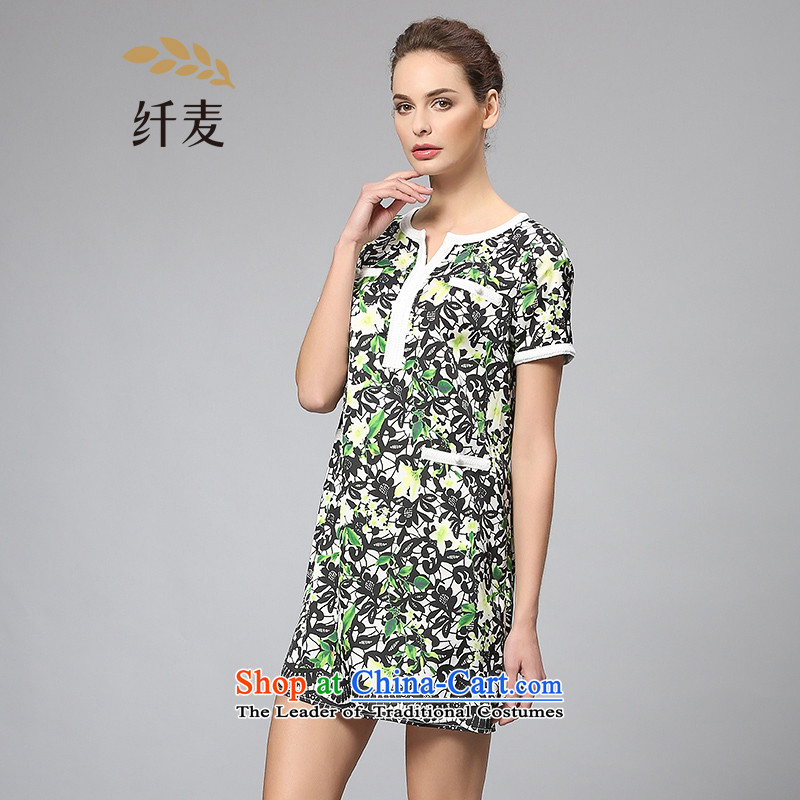 The former Yugoslavia Migdal cooked larger women 2015 Summer New Fat MM round-neck collar Sau San fresh dresses 352103216�L green
