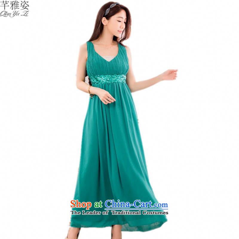 C.o.d. Western fads on-chip high-Lumbar V-Neck long skirt 2015 new plus hypertrophy code goddess nightclubs evening dress annual ritual dress greenXLabout 125-145 catty