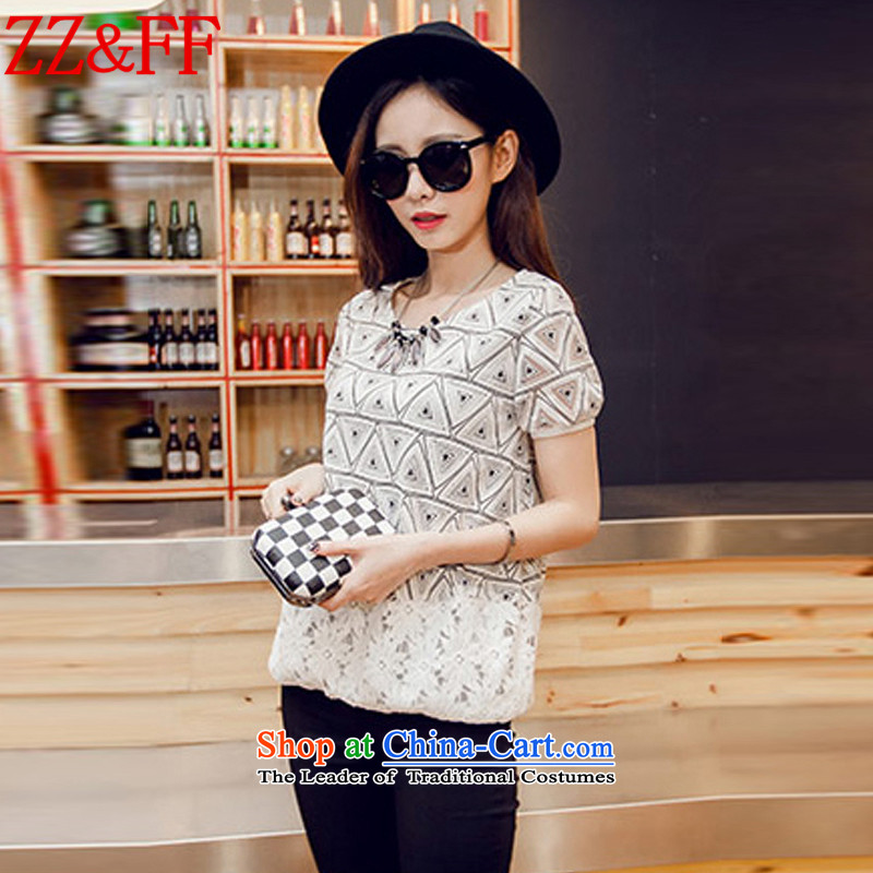 2015 Summer Zz_ff new large stylish Korean female Sau San stamp round-neck collar short-sleeved T-shirt female DX6059 map color XL