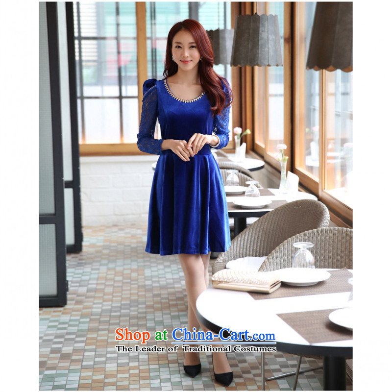 C.o.d. new stylish look and feel elegant atmosphere video port female Korean coltish version helpmate of Sau San Kim velvet lace long-sleeved dresses large blue dress code is
