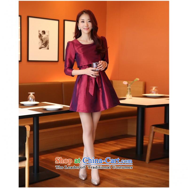 C.o.d. 2015 Summer new stylish look long-sleeved leave two elegant A Skirt Sau San bon bon apron skirt thick MM larger dress wine red聽M