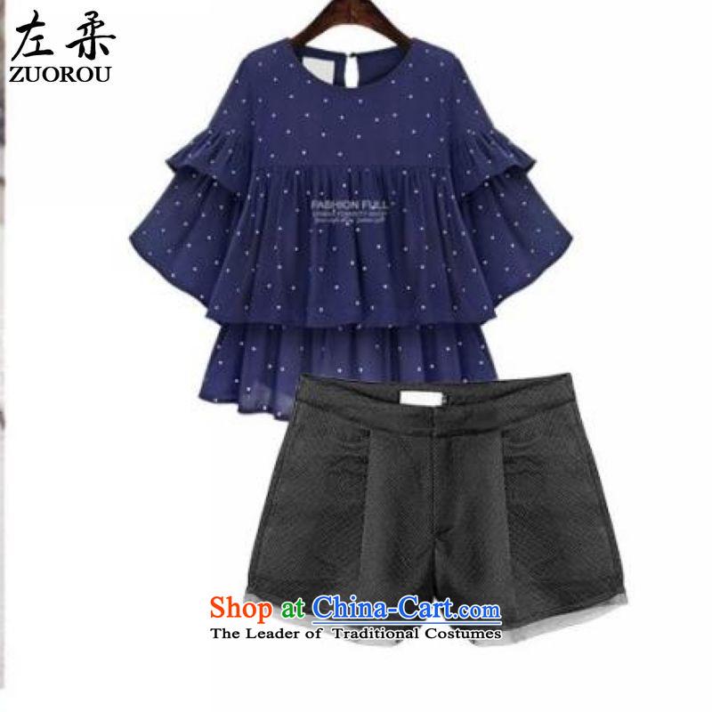 聽 2015 Summer Sophie left Korean large code women 200 catties thick mm thin dot graphics omelet Loose Cuff T-shirt shirt + solid color shorts packaged deep blue聽XXL