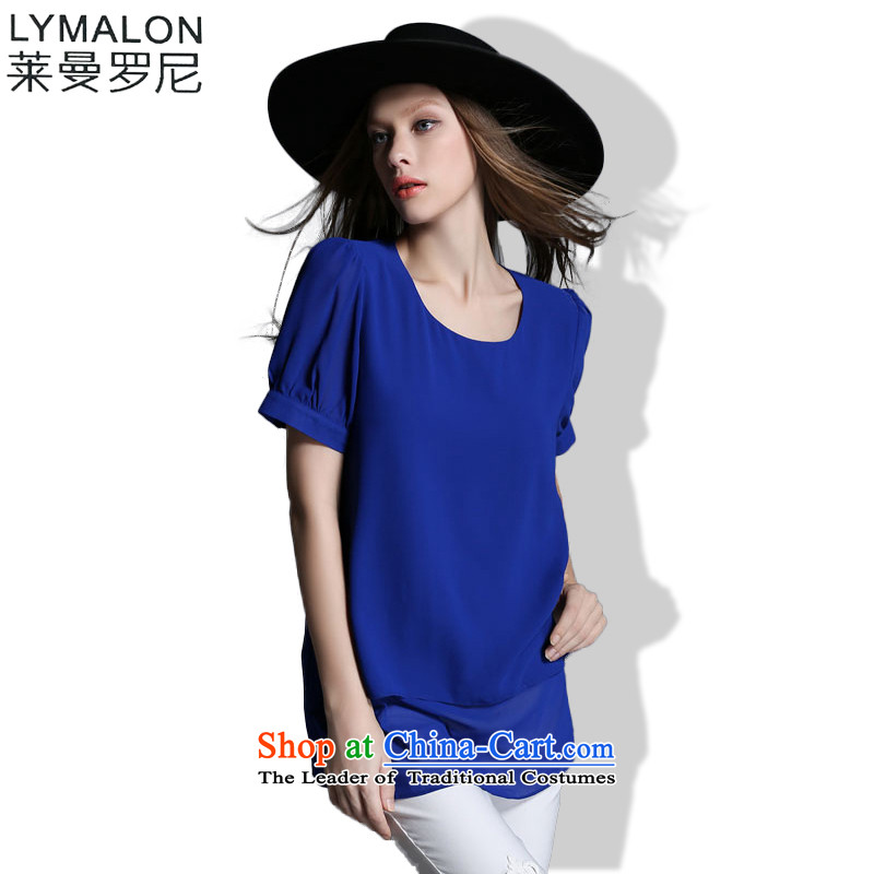 The lymalon2015 Lehmann Summer Western New larger female loose round-neck collar Solid Color Sleek and versatile T-shirt T-shirt 1972 Blue燲XL
