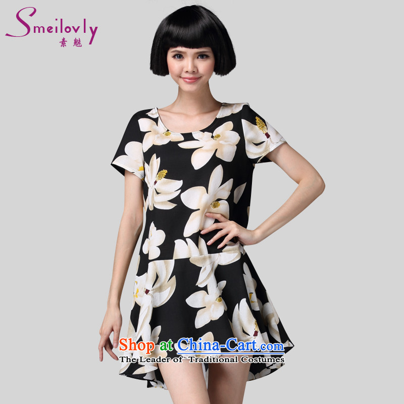 The Director of the women's code for summer 2015 new Korean thick MM stylish stamp graphics thin dresses�  2918燘lack Large 5XL code around 922.747 200