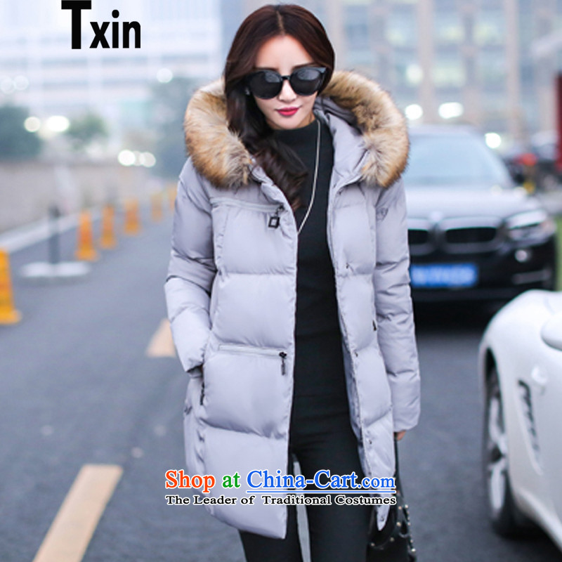Txin燦ew Fall_Winter Collections for larger female windbreaker robe female thick mm thin thick among the video stylish long loose video thin to increase cotton jacket cotton coat gray XXXL 145-160 8248 catties