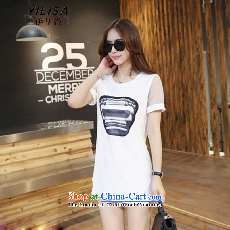 Large YILISA female new summer 200 catties thick sister summer blouses t-shirt dresses thick mm loose dress H5163 White燲L爎ecommended weight 100-135 catty