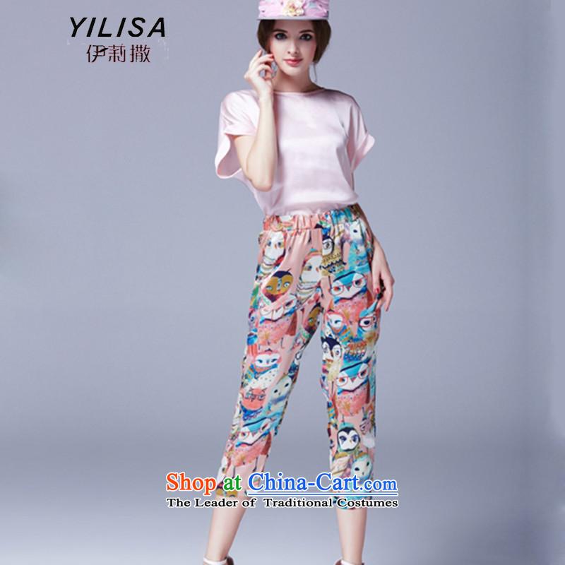 Elizabeth sub-new larger women's summer kit fat mm summer stylish Korean aristocratic video thin temperament shirt score of 9 stamp casual pants two kits K247 pink燲XL