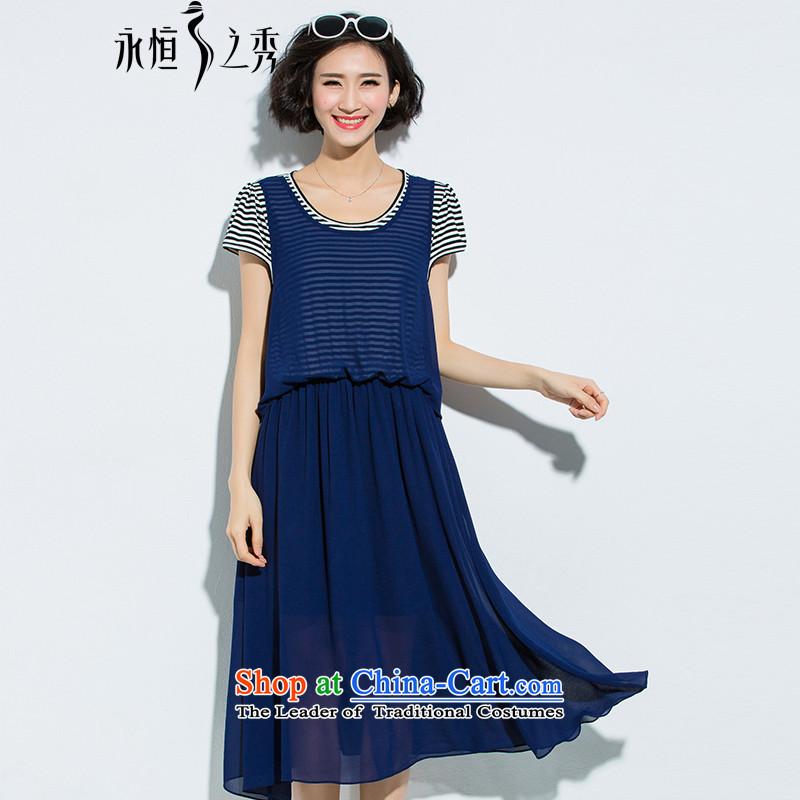 The Eternal-soo to xl women's dresses thick sister mm2015 summer new product version won relaxd graphics slender skirt leave streaks two short-sleeved blue skirt燲L