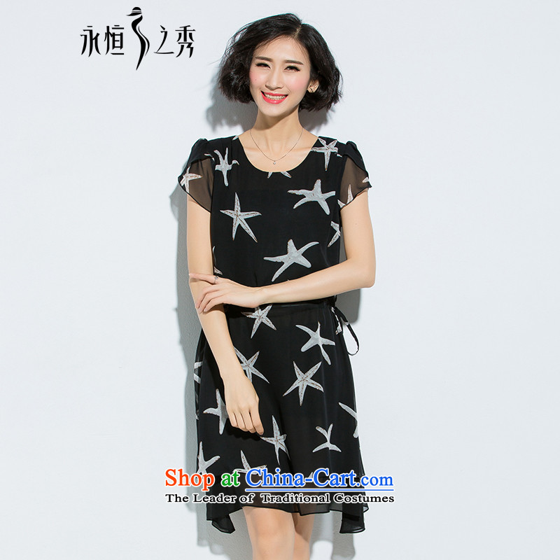 The Eternal-soo to xl women's dresses thick sister summer new mm thick Korean chiffon loose thick, Hin thin, Lap sea star pattern dresses Black燲L