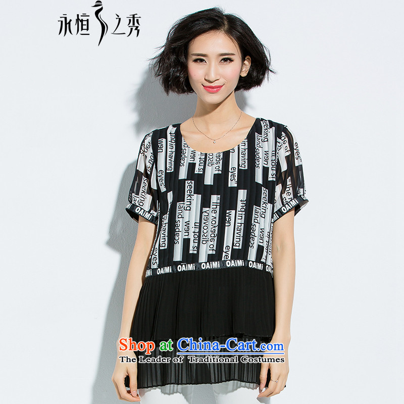 The Eternal-soo to XL T-shirts thick MM2015 summer new thick sister who thick wild loose video thin letter stamp chiffon shirt black2XL