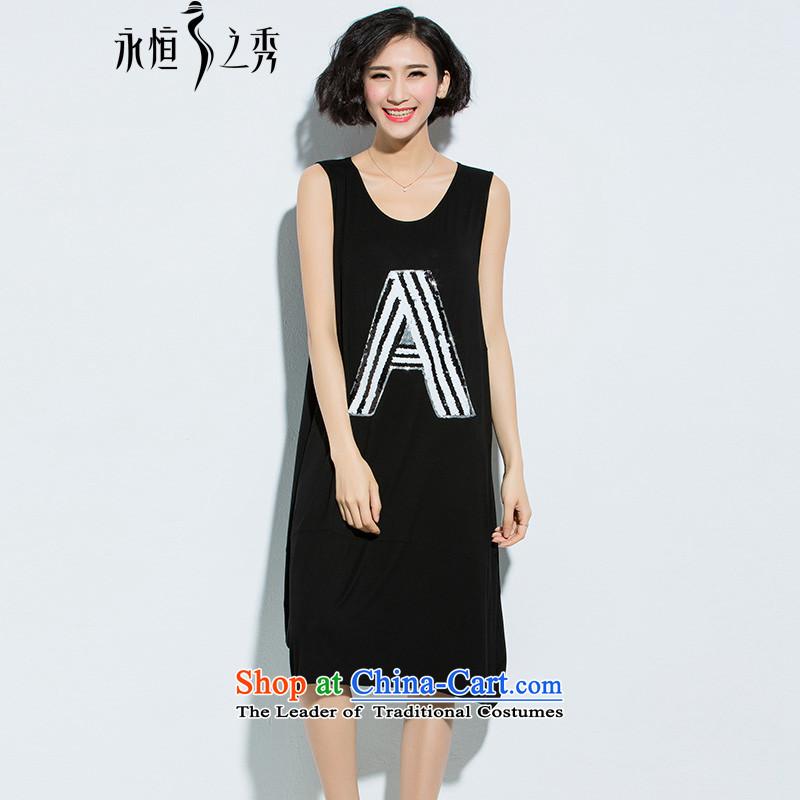 The Eternal-soo to xl women's dresses thick MM2015 summer new products were relaxd thick sister thick, thin graphics wild long skirt on chip dresses BlackXL
