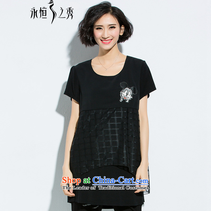The Eternal-soo to XL T-shirts thick sister summer new MM thick persons Korea thick in long wild relaxd cartoon stickers graphics thin figure short-sleeved T-shirt�L black