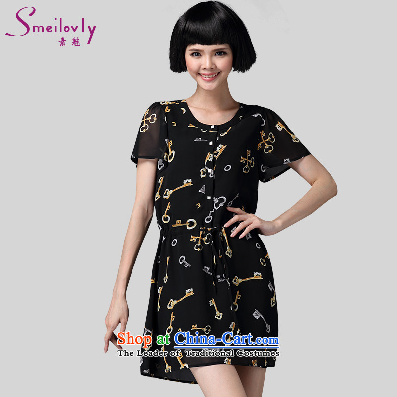 The director of King boutique catty 200 code women thick mm summer short-sleeved tether video thin ice woven dresses thin black large number 2916 XL suitable for about 120