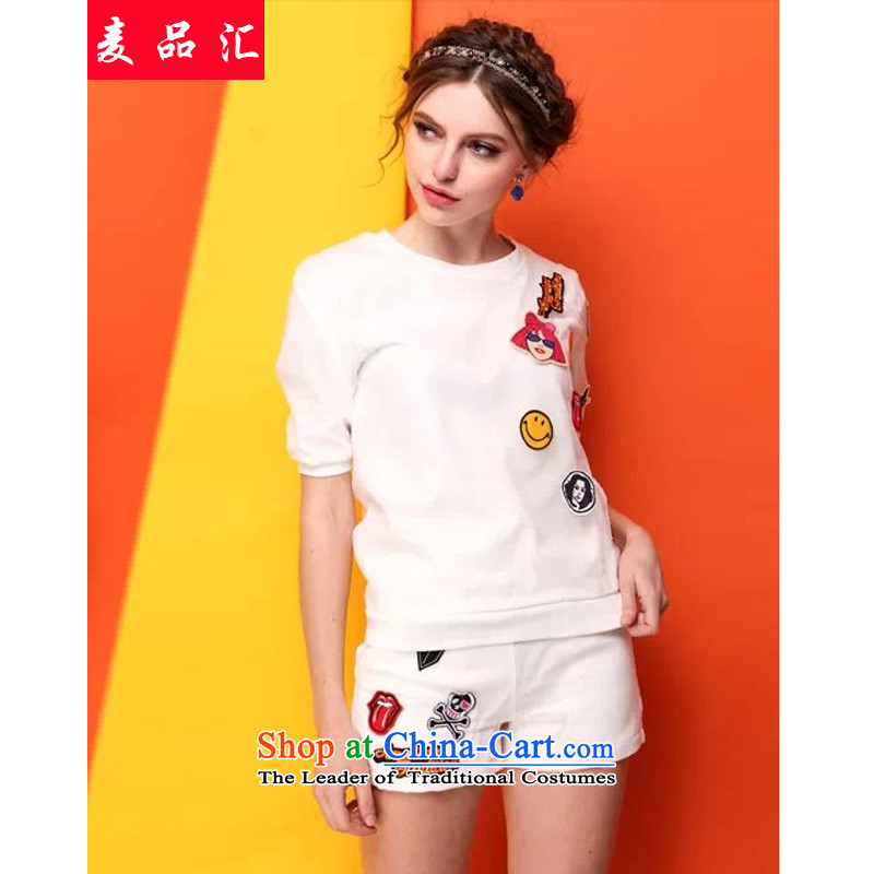 Mr Hui 2015 summer products new Korean version of fat mm larger women's shorts, short-sleeved to loose the two piece graphics thin T-shirt Kit 602 white XXL, Mak products removals by sinks , , , shopping on the Internet