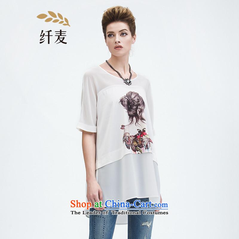 The former Yugoslavia Migdal Code women 2015 Summer new stylish mm thick chiffon stitching figures T-shirt white�L 952153968