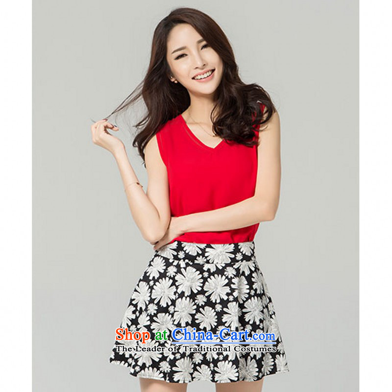 C.o.d. 2015 Summer new larger chiffon dresses two kits for women 200 catties thick sister V-neck shirt without sleeves stamp Top Loin short skirts�L red