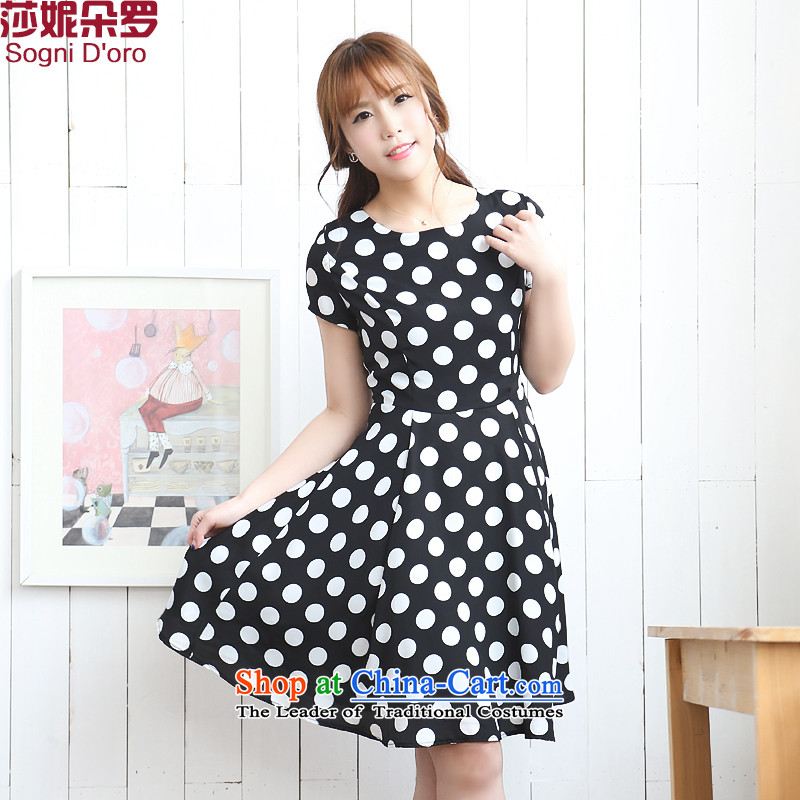 Shani flower, increase the number of women's centers hypertrophy sister summer thick, Hin thin, dresses 7710 Black聽2XL