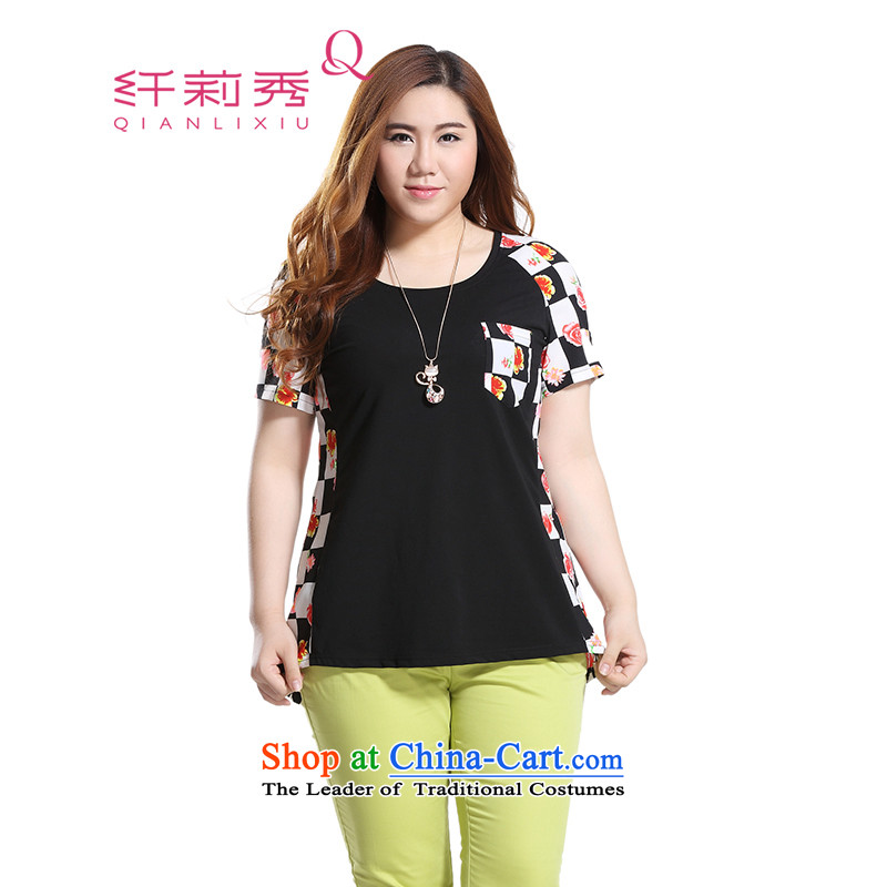 The former Yugoslavia Li Sau 2015 Summer new larger female round-neck collar stamp chiffon collision does not rule under the multi-colored T-shirt Q8781�L black