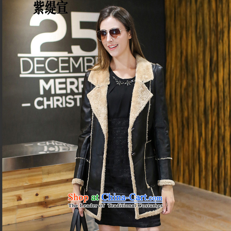The first declared western trendy economy code women new autumn and winter Fat MM to intensify the long leather jacket coat C2111 3XL female around 922.747 150 - 160131