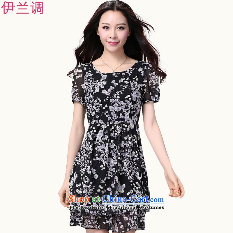 Maximum number of ladies 2015 Summer new xl dresses thick chiffon summer mm thick Korean version of SISTER Suit 2185 black flowerXXXL