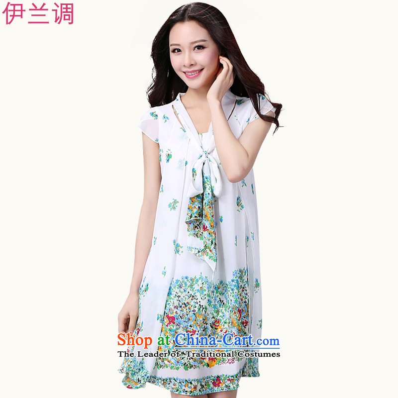 To xl dresses larger female thick mm summer chiffon stamp loose Korean video thin thick sister 2209 white flowers聽XL