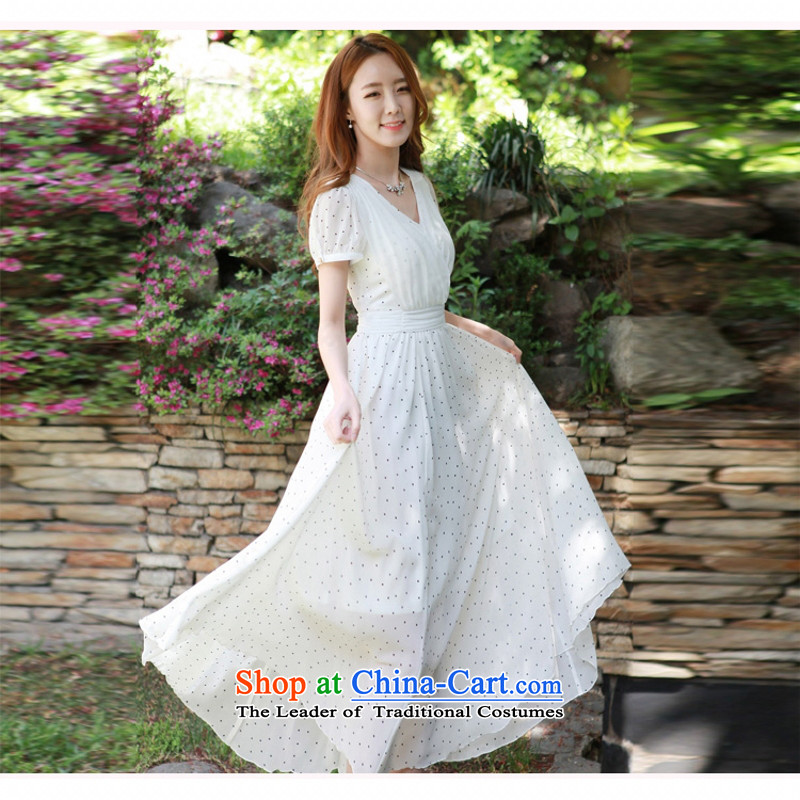 C.o.d. 2015 Summer new stylish elegance and sexy MM thick Korean value large long skirt Fashion wave point video thin sexy beauty dresses White聽XL