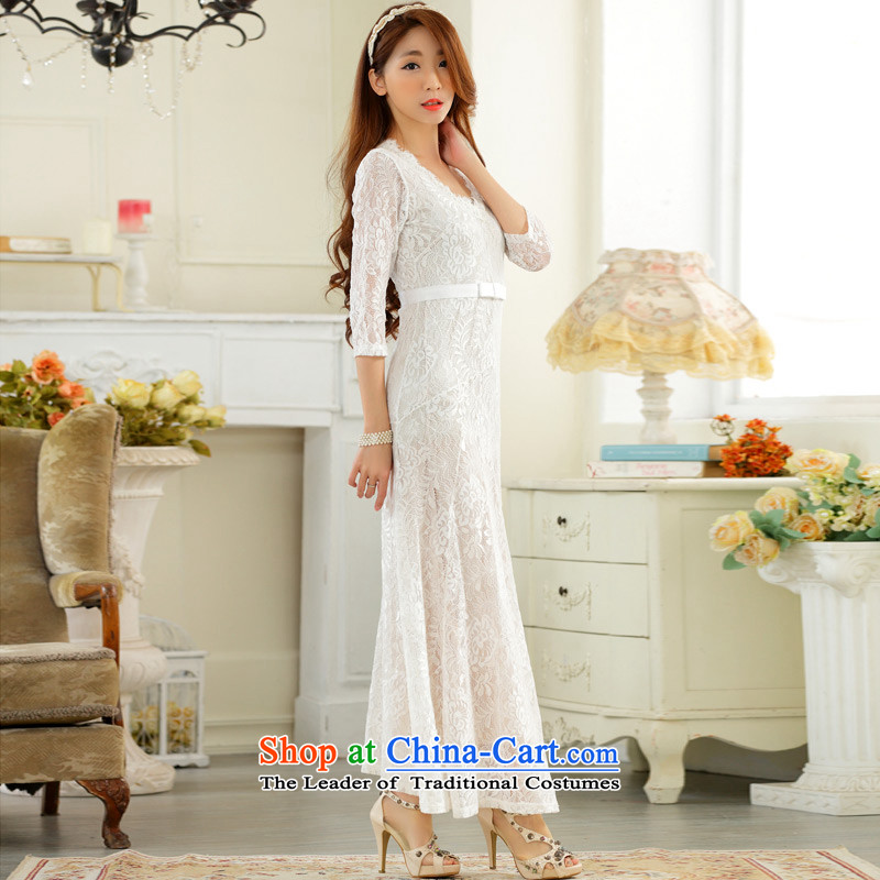 C.o.d. 2015 Summer new stylish look big atmospheric high-end lace sexy V-neck in long-sleeved large elegant dress dresses WhiteXL