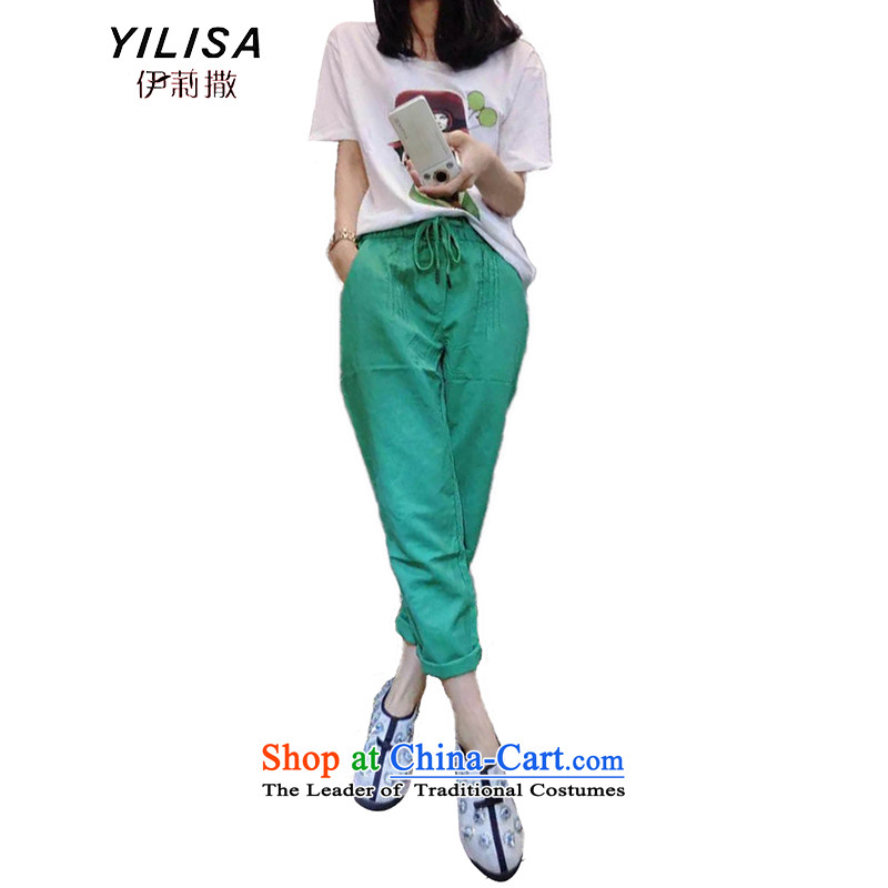 Elizabeth sub-to increase women's summer code new hot soup drill t-shirts figure set thick mm Korean fashion cartoon Top summer plus 9 trousers kit K238 picture color聽XXL
